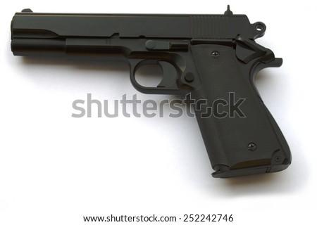 Handgun, US semi-automatic caliber .30 10mm , on white - stock photo