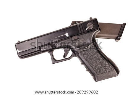 Handgun used, weapon army Isolated on white background - stock photo