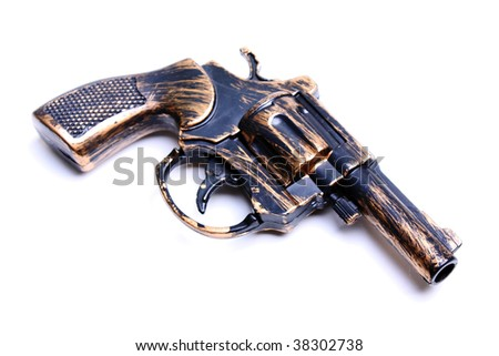 Handgun weapon - crime gun toy isolated on white