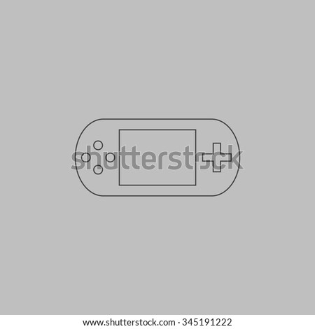 Handheld game console. Flat outline icon on grey background