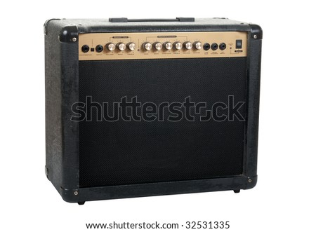 Handheld guitar amplifier isolated over white background in studio. Clipping path included. - stock photo