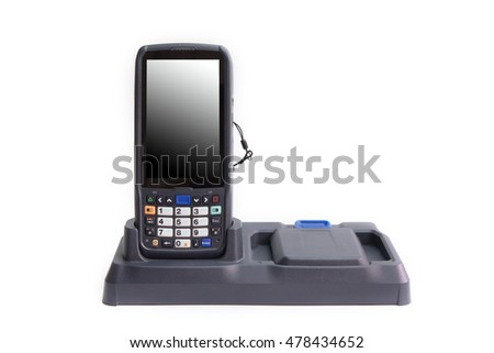 Handheld laser barcode scanner reader with blank isolated screen. On white background