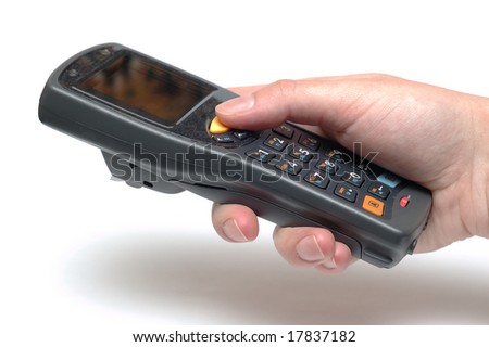 Handheld Mobile Computer in hand - stock photo