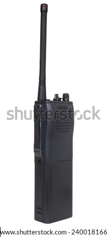 Handheld two way radio that is isolated on white - stock photo