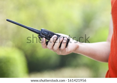 Handheld  walkie talkie for outdoor - stock photo