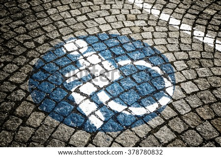 handicapped - disabled parking sign  - stock photo