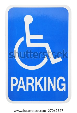 handicapped parking sign cut-out on white background - stock photo