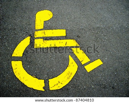 Handicapped symbol on parking space