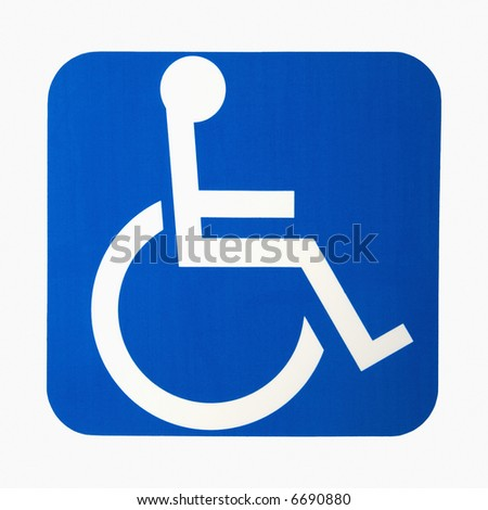 Handicapped wheelchair access logo sign. - stock photo