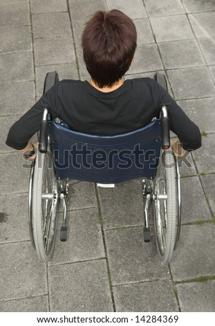 handicapped woman - stock photo
