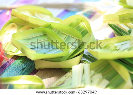 Handicraft from palm tree leaves