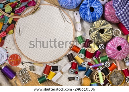 Handicrafts - Sewing and Embroidery - with space for text - stock photo