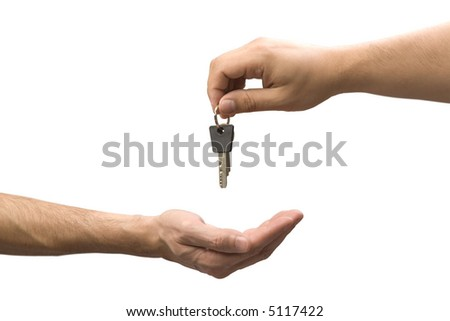 Handing over keys to new owner. Photo on white background with clipping path. - stock photo