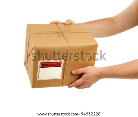 Handing Over The Package - stock photo