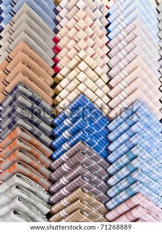 Handkerchief in row on sell - stock photo