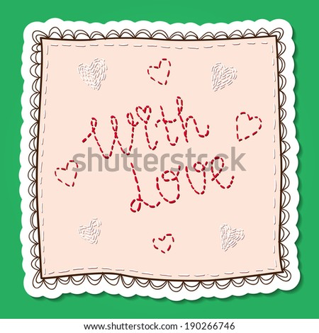 Handkerchief with embroidery. Paper sticker imitation. Romantic tender design