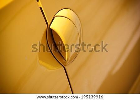 Handle of car's door. - stock photo