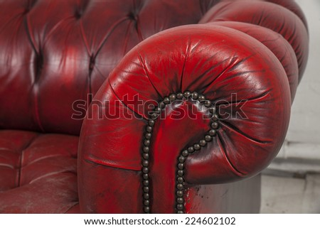handle of old chesterfield sofa - stock photo