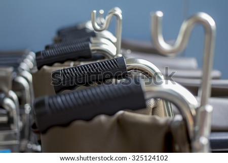 Handle of wheel chair - stock photo