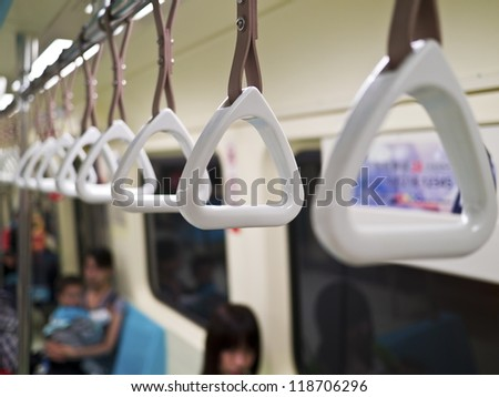 handle on a train - stock photo