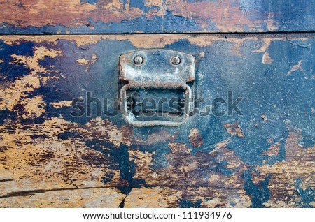 Handle on an old suitcase - stock photo
