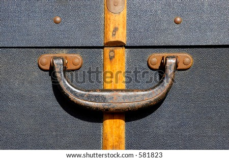 Handle on an old suitcase, severn valley railway, bewdley station, uk - stock photo