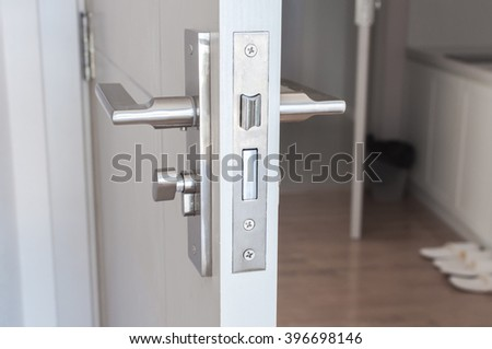 Handle steel knob on the door