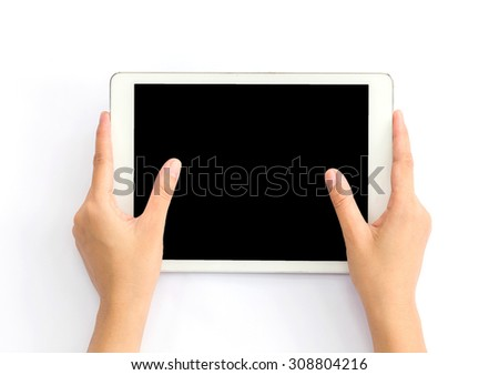 Handle tablets white background. - stock photo