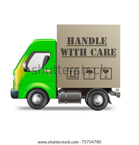 handle with care delivery truck with cardboard box fragile package