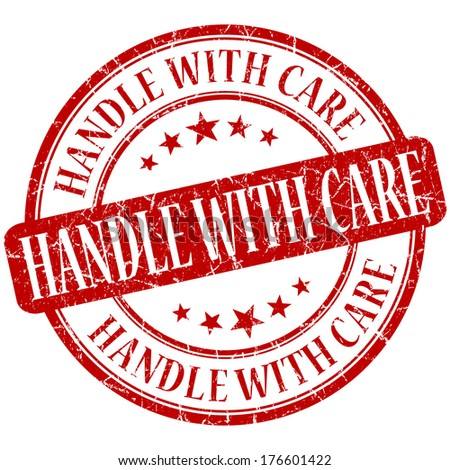Handle with care grunge red round stamp - stock photo