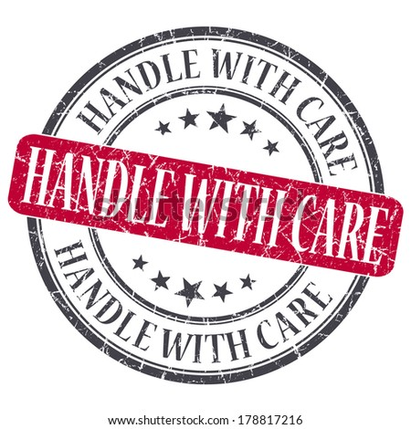 Handle With Care red grunge round stamp on white background - stock photo