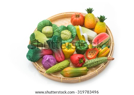 handmade and Variety of miniature clay vegetable and fruits - stock photo
