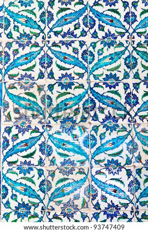 Handmade Blue Tiles from Topkapi Palace - stock photo