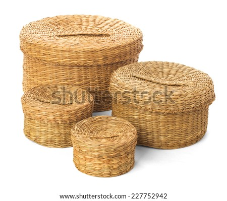 Handmade boxes for a picnic or storing old things - stock photo