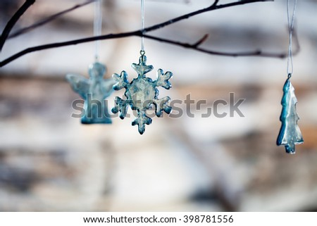 Handmade christmas decoration made from blue glass