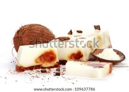 Handmade coconut Soap closeup.Spa products - stock photo