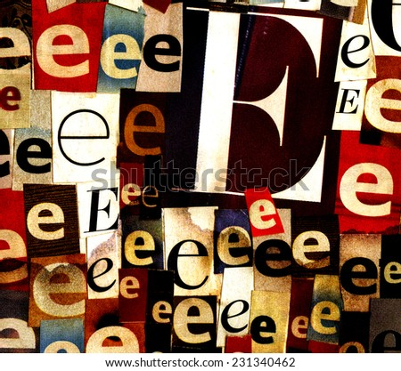 Handmade collage of newspaper and magazine clippings with letter E on stained paper background  - stock photo