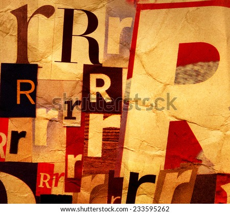 Handmade collage of newspaper and magazine clippings with letter R on creased beige paper background   - stock photo