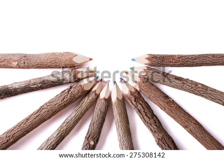 Handmade color pencil drawing of a wooden logs closeup isolated on white background. horizontal