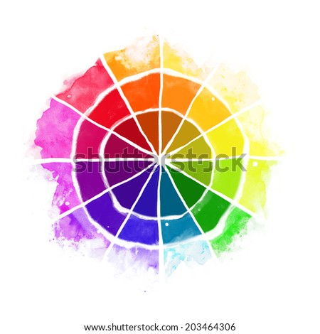 Handmade Color Wheel Isolated Watercolor Spectrum Raster Illustration