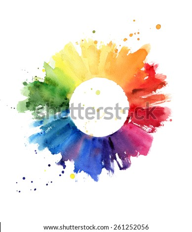 Handmade color wheel, watercolor illustration - stock photo