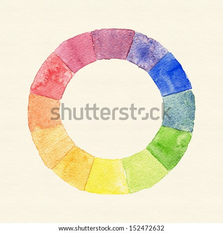 Handmade color wheel. Watercolor spectrum with vintage paper texture. Raster illustration. - stock photo
