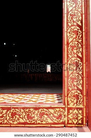 handmade colorful artistic decorative ornaments and elements pattern typically founded in BUDDHISM temple in THAILAND - stock photo