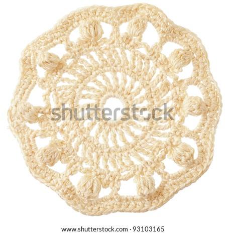 handmade crochet round motif isolated on white - stock photo