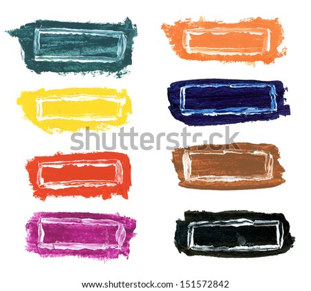 Handmade different colours watercolor frames - stock photo