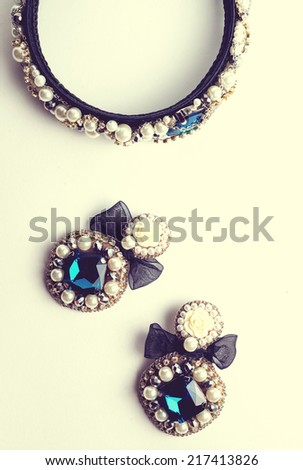 handmade earrings and hoop with jewels. Vintage style - stock photo