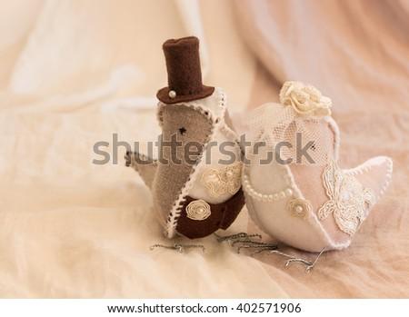 handmade fabric wedding birds, wedding background in retro style - stock photo