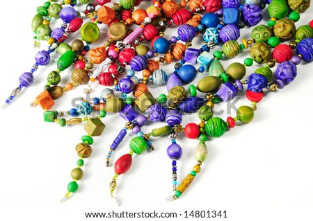 handmade fashion accessories with colorful clay beads - stock photo