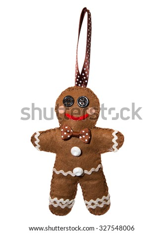 Handmade. Felt gingerbread man - stock photo