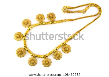 Handmade Gold Necklace for Engagement and Wedding - stock photo